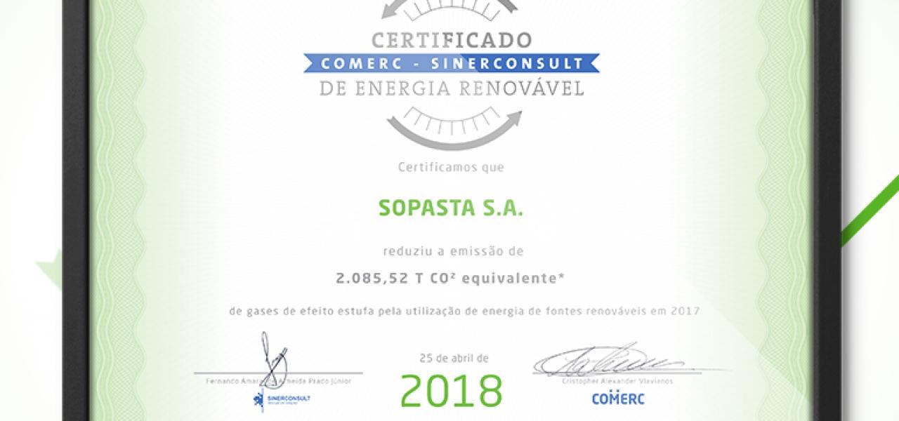 Sopasta recebe Certificado SINERCONSULT de energia renovável